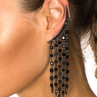 Oscar de la Renta Tendril Crystal Earrings in Black Jet | FWRD