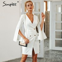 Simplee Elegant lace up split blazer women dress Autumn 2018 double breasted white dress Office slim ladies dresses vestidos