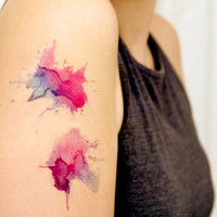 Watercolor Splash Temporary Tattoo (pack of 2)