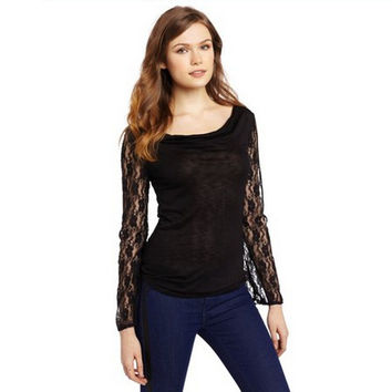 Summer Lace Patchwork Cotton Slim Tops Bottoming Shirt [7322494913]