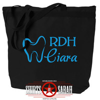 Dental Hygienist Tote Bag - Personalized Totes For RDH Tooth Hygiene Bags Teeth