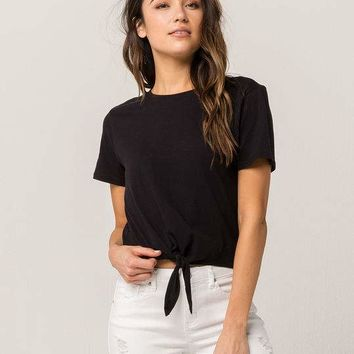 FULL TILT Essentials Tie Front Womens Tee