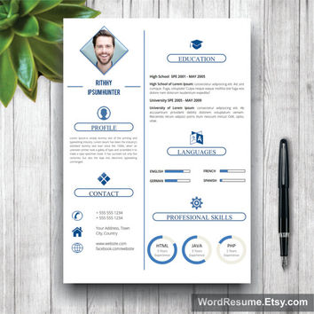 Simple Resume Template WIth Photo + Cover Letter, CV Template (US Letter, A4), Professional Resume, Creative  Resume, Instant Download CV