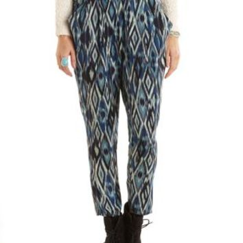 Elastic Waist Ikat Print Trousers by Charlotte Russe