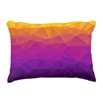 Low Poly Desert Sunset Accent Pillow