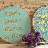 Golden Girls - Embroidery Hoop Art - Dorothy Sofia Blanche Rose - Gift