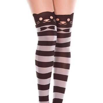 Black and White Striped Cute Kitty Face Pantyhose