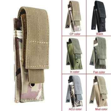 Small Military Tactical MOLLE Single Cartridge Clip Bag Pistol Magazine Pouch Flashlight Sheath Airsoft Hunting Ammo Molle Pouch