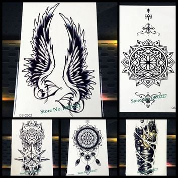 1PC Hot Large Angel Wing Tattoo Sleeve Body Back Art Temporary Tattoo Sticker Waterproof Henna Fake Arm Tatoo Wing Feather S-C51