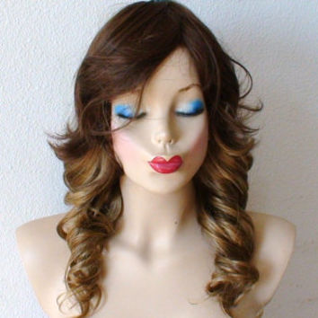 Ombre wig. Brown / dirty blonde Ombre colored medium length Long side bangs curly hair synthetic wig.