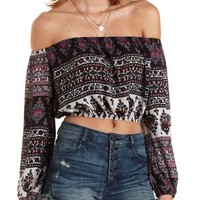 Multi Off-The-Shoulder Mixed Print Crop Top by Charlotte Russe