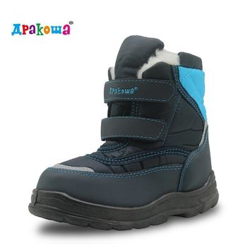 Apakowa Winter Waterproof Boys Boots Mid-Calf Pu Leather Rubber Shoes for Boys Warm Pl