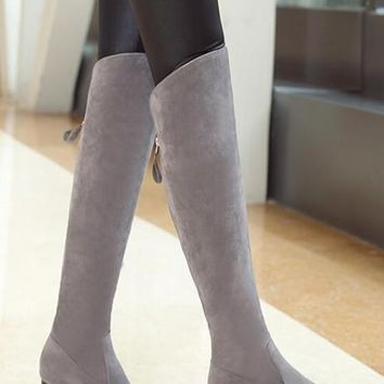 New Women Grey Point Toe Chunky Casual Over-The-Knee Boots