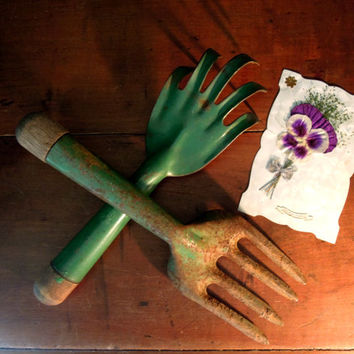 Two Vintage Fork Garden Tools / Green and Wood Handles / Metal Garden Tools / Autumn Decor / Gardening