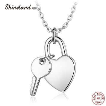 Shineland 100% 925 Sterling Silver Key and Heart Lock Pendants Choker Smooth Love Necklace Wedding Accessories Gift Box Packing