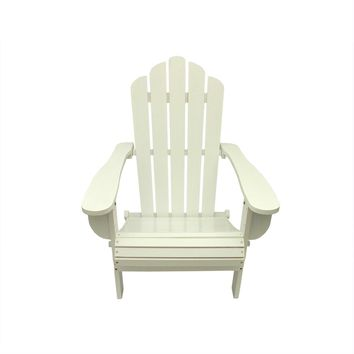 "37.5"" White Wood Folding Outdoor Patio Adirondack Chair"