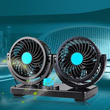 Mini Electric Car Fan Low Noise Summer Car Air Conditioner 12V 360 Degree Rotating 2 Gears Adjustable Car Fan Air Cooling Fan