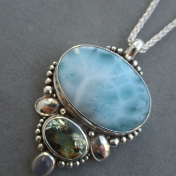One of a Kind Sterling Silver Larimar Pendant