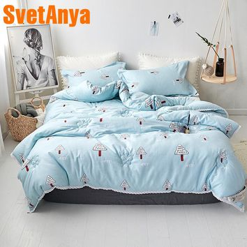 Svetanya Warm Quilt Tree printed Throws Blanket Sky-blue quilted Comforter 150x200cm 200x230cm 220x240cm Plaids