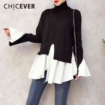 CHICEVER 2018 Spring Patchwork Pullovers Knitted Sweater For Women Turtleneck Flare Sleeve Irregular Female Jumper Sweaters Tide