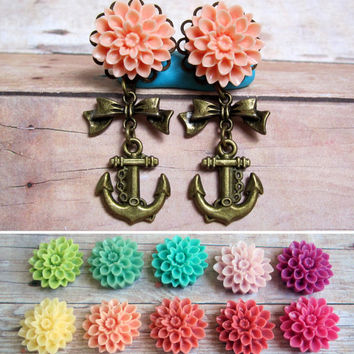 "Pair of Chrysanthemum Plugs with Antique Brass Bow and Anchor Charms - Handmade Girly Gauges - 0g, 00g, 7/16"", 1/2"", 9/16"", post earrings"