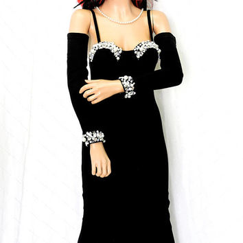 90s body con black dress / size S / 5 / 6  / 1990s long black beaded party / evening dress / sexy hot black dress with pull on sleeves