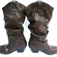 Dark Brown Slouchy Cow Girl Boots 10