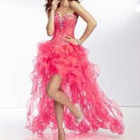2014 New Long Pink Sweetheart Strapless Bead Formal Evening Prom Gown Cocktail Party Pageant Dress High-low Homecoming Dresses