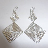 Sterling Silver Square Wire Wrapped Dangle Earrings