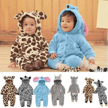 Newborn Baby Clothes Autumn Winter Baby Clothing Giraffe Elephant Zebra Rabbit Animal Style Baby Romper SV005504|27701 Children's Clothing = 5613064001