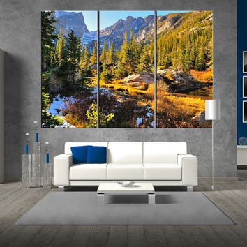 Rocky Mountain National Park Colorado wall art canvas print, extra large wall art, ready to hang forest canvas print wall art t344