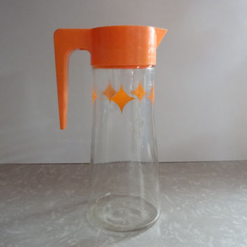 Vintage Retro Orange Juice Pitcher - Diamond Patterned - Atomic Anchor Hocking