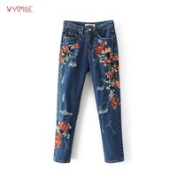 YSMILE Y Cool Womens Jeans With Flowers Embroidery High Quality Boyfriend Style Hole Skinny Denim Jeans Bottoms Pants  HY258