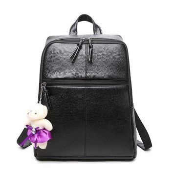 Little Bear Daypack Girls Daily Simple Schoolbag for Teenagers PU Leather Women Backpack  Vintage Mochila Casual Rucksack