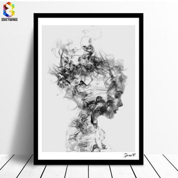 Nordic Decoration Black White Poster And Prints Girl Canvas Painting Wall Art Canvas Prints Poster Wall Pictures for Living Room