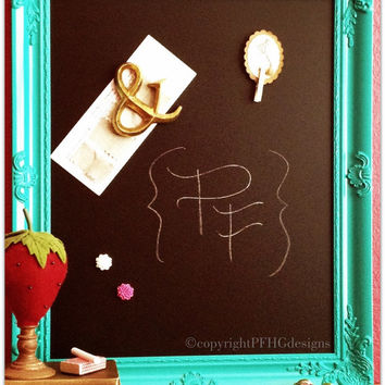 Vintage Style Chalkboard Magnet Board - Framed Turquoise Aqua Blue Wall Decor by Pinwheel Fair Home Goods