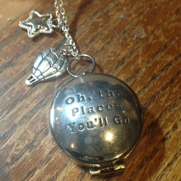 Working Compass Necklace Dr. Seuss Oh the Places You'll Go Graduation Gift