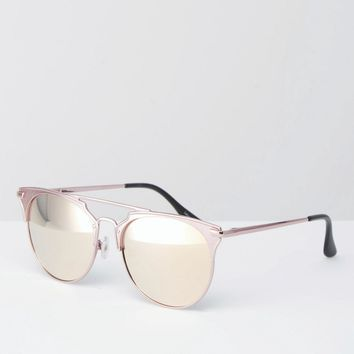 Quay Australia x Chrisspy Gemini Metal Cat Eye Sunglasses with Pink Flat Mirror Lens