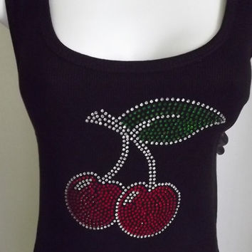 Womens Tank Top  Black Rhinestone Cherries