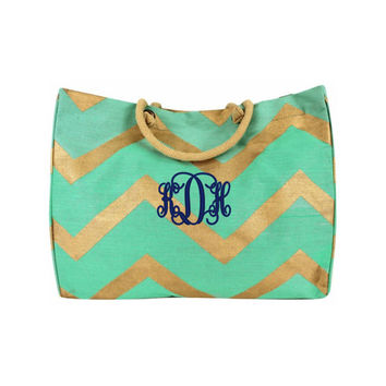 CLEARANCE + FREE SHIPPING Mint Green and Gold Extra Large Chevron Print Juco Tote Bag Free Monogramming With Purchase