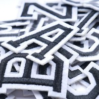 1 Piece: White English Alphabet Letter Iron-On Embroidery Clothing Patch