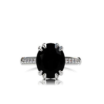 Black spinel engagement ring, diamond, white gold, solitaire, oval cut, spinel ring, black engagement, gothic, unique, wedding ring