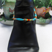 Beaded Boot Anklet Choker W/Beaded Beads and Silver Charm Dangle//Boot Accent Anklet//Gifts For Her//Beaded Boot Jewelry//Silver Charm