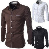 Fashion Trim Designer Mens Slim Button Down Shirt