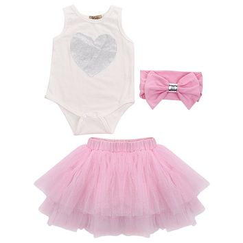 Baby Girl Heart Print Jumpsuit Romper Headband Ruffle Bloomers Outfit