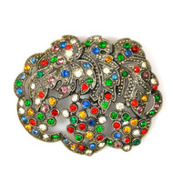 Art Deco Fruit Salad Rhinestone Leaf Brooch