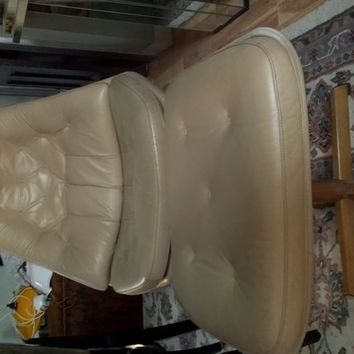 MidCentury Modern Lounge Leather Chair and Ottoman