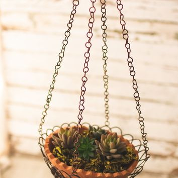 Hanging Wire Wrapped Terracotta Pot
