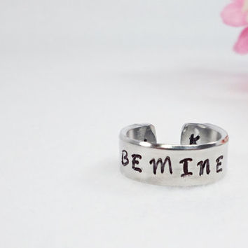 Be Mine Ring - Love Ring - Valentine's Ring - Promise Ring - Stamped Ring - Girlfriend Gift - Aluminum Ring - Adjustable Ring - Skinny