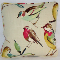 "Bird Watcher Throw Pillow Teal Red Green Yellow 17"" Linen Square Welted Ready Ship Cover and Insert"